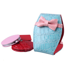 2015 Hot & Popular Leather Makeup Mirror with Bowknot