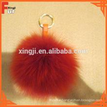 Handbag Keychain Fox Fur Pom Poms