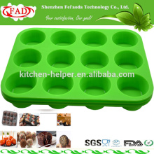 FDA Standard Food Grade newly bakeware silicone muffin cake mold with 12 Hole