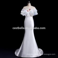 V-Ausschnitt Guangzhou Hochzeitskleid Fabrik exotischen Satin Brautkleid