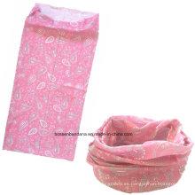 OEM Produce logotipo personalizado impreso Microfiber Sports Girl Pink Paisley promocional Headwear Buff