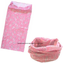 OEM Produce Customized Logo imprimé Microfibre Sports Girl's Pink Paisley Coiffes promotionnels Buff