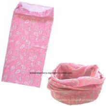 OEM-продукция под заказ логотип печатных Microfiber Sports Girl's Pink Пейсли рекламных головных уборов Buff