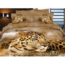 Le léopard à l'oreille perd dans les conceptions de pensée des dessins de lit queen