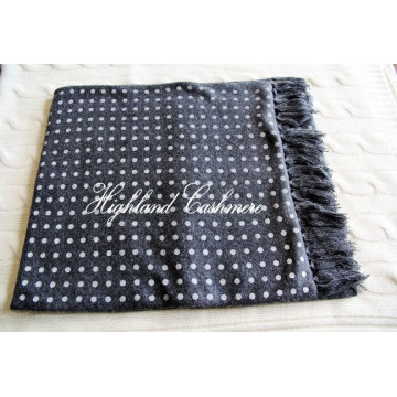 Cashmere Knitted Tubular Scarf with Polka DOT Printtings