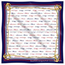 2014 New 100% Silk Chiffon Logo Printed Silk Scarf