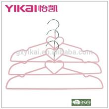2015PVC metal shirt clothes hanger in heart shape