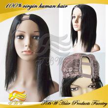 Precio de fábrica barato parte derecha pelucas brasileñas de la parte del pelo u