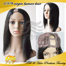 Cheap factory price right side part brazilian hair u part wigs