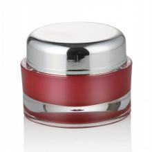 Cosmético cosmético del tarro del cuidado de la piel del tarro plástico rojo 30 / 50ml con el tarro cosmético de acrílico del casquillo de rosca de aluminio al por mayor