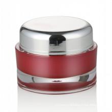 30/50ml red plastic jar cosmetic skin care jar cosmetic with aluminum screw cap acrylic cosmetic jar wholesale