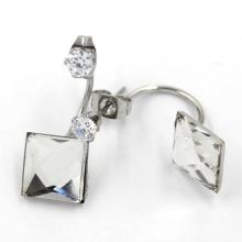 Cristales de joyería de pendiente de cuadrado blanco Pendientes de perno prisionero de doble lado