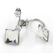 Jewellery Crystals From White Square Earring Double Side Stud Earrings
