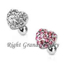 Multi de rosa acero quirúrgico 316L joyas corazón perforación del Tragus de la oreja