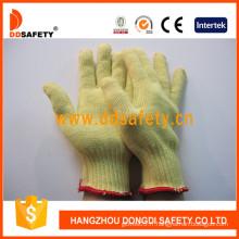Gants tricotés en fibre d'aramide 100% calibre 10, résistant aux coupures (DCR105)