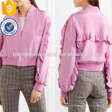 Venta caliente púrpura poliéster con volantes de manga larga primavera chaqueta fabricación al por mayor de moda mujeres ropa (TA0007J)