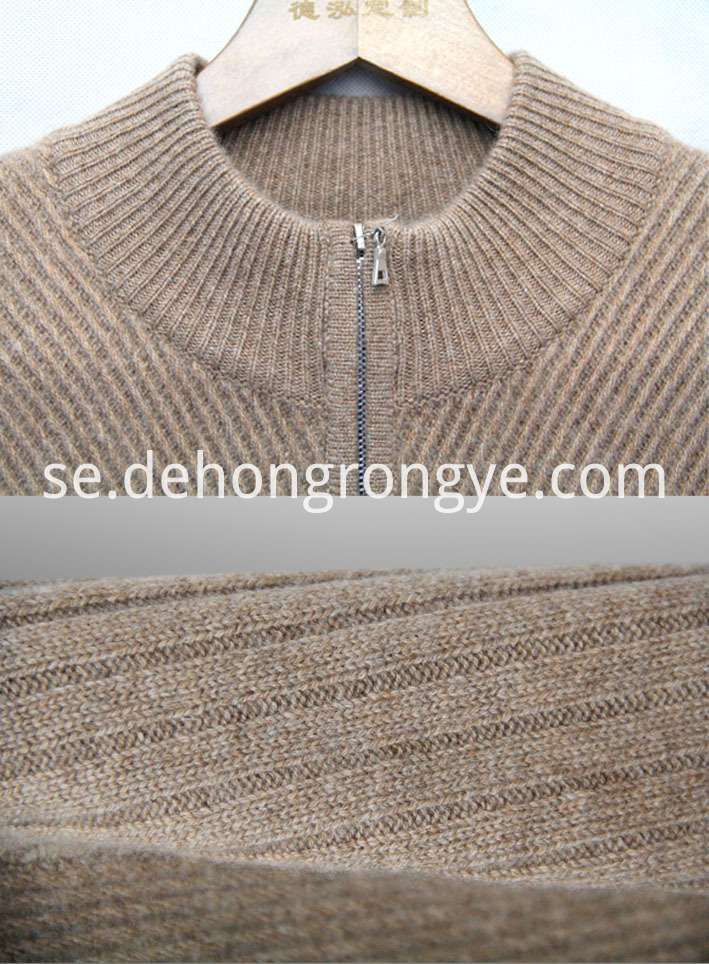 Semi High Collar Zipper Cashmere Cardigan