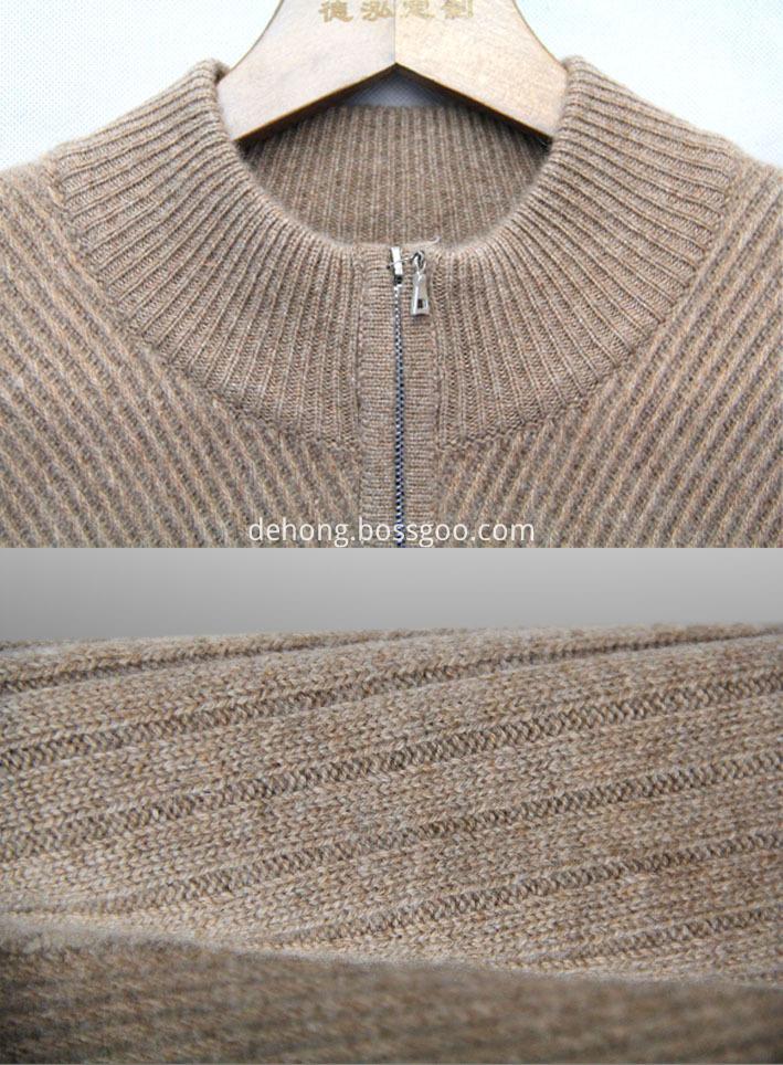 Semi High Collar Zipper Cashmere Cardigan