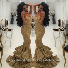 2017 sexy party dress Paillette maxi dress Mermaid gold sequin Prom Dresses MP2216