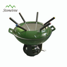 Cast Iron Enamel Mini Chocolate And Cheese Fondue Set
