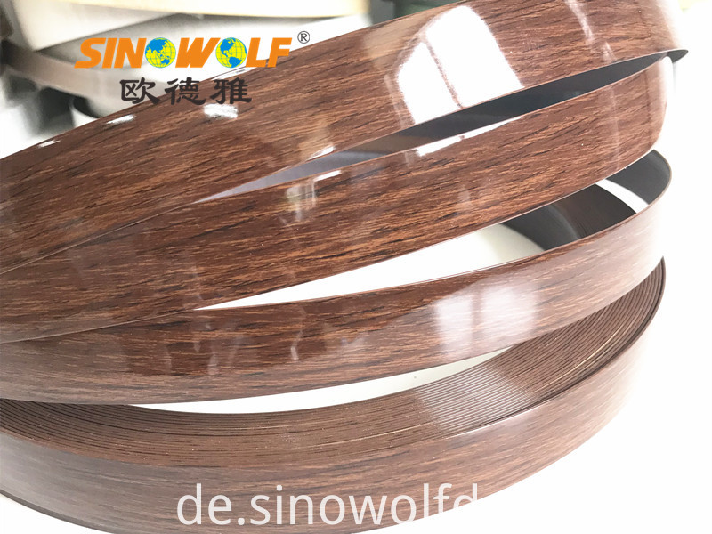 Wood high gloss edge banding pvc
