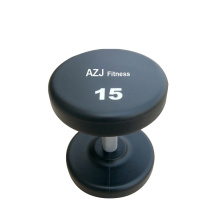 15LB Black Rubber Round Dumbbell
