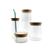 Borosilicate Glass Bottol Glass Cup With Wooden Lid