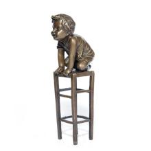 Enfant Maison Déco Mignon Garçon Bronze Sculpture Statue Tpy-571