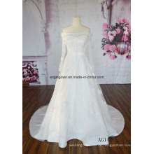2016 lange Zug aus Schulter Mode neuesten Hochzeitskleid