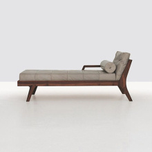 Kamar Living Wood Solid Leather Living Daybed