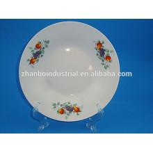 Plat à soupe de porcelaine, plat blanc, assiettes rondes