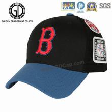 Casquette de baseball broderie nouvelle conception de l'année 2016 avec badge tissé