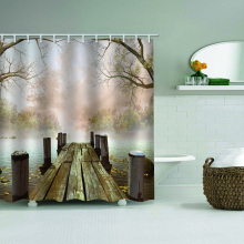 Wooden Bridge Waterproof Shower Curtain River Dry Tree Nature Bathroom Decor