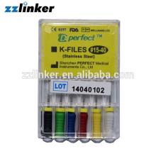 LK-Q22 Edelstahl Dental K Datei Hand Gebrauch 15-40 6pcs / box