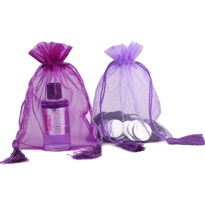 Personalized tassels organza bag with organza fabric