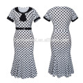 Latest Ladies Print Wave Point Mid-Calf Frock Indian Women Party Wear Midi Pencil Dress Casual Fishtail Dress women