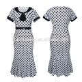Latest Ladies Print Wave Point Mid-Calf Frock Indian Women Party Wear Midi Pencil Dress Casual Fishtail Dress women