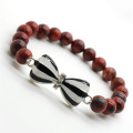 Rouge jaspe 8MM perles rondes Stretch Gemstone Bracelet avec Diamante noeud papillon en alliage
