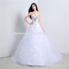 sweety junoesque Braut Hochzeitskleid neues deisgn Fußbodenlänge Prinzessin weißes schwarzes Hochzeitskleid