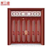 Hot selling China factory decorative wrought iron steel door with latest french steel window grill design