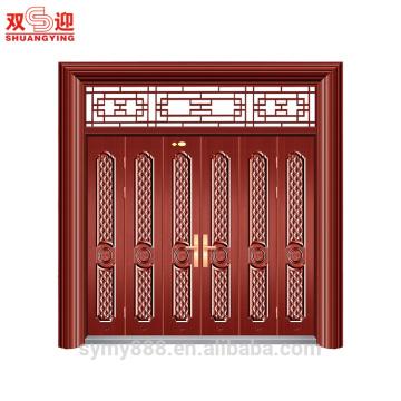 Élégant Design Entrée de sécurité Muti-feuille Porte Pleasant Richesse Come Carving
