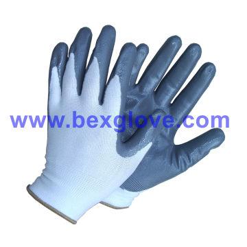 13 калибровочных полиэфирных нитрильных рабочих перчаток