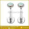 Surgical Steel Internally Threaded Fire Opal Labret Monroe Lip Tragus Piercing Body Jewelry