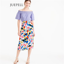Floral Pintucked MIDI Frauen Rock