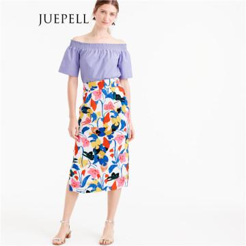 Цветочные Pintucked MIDI юбки женщин