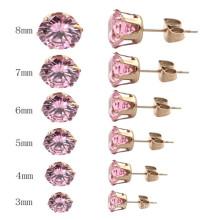 Mais bonito de aço inoxidável jóias flor padrão brincos de parafuso prisioneiro