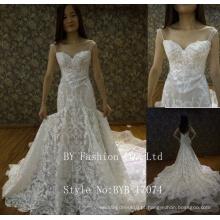 2017 Design mais recente Alibaba atacado Sweetheart piso comprimento Longo trem laço appliqued orgenza vestido de noiva sereia