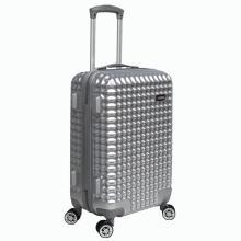 ABS + PC bagage brillant de chariot de forme de gaufre d'argent