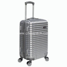 ABS +PC silver shiny waffle shape trolley luggage