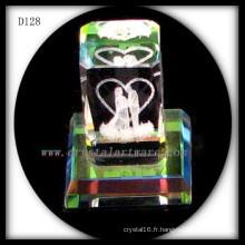 3D laser gravé cristal plaqué couleur mariage